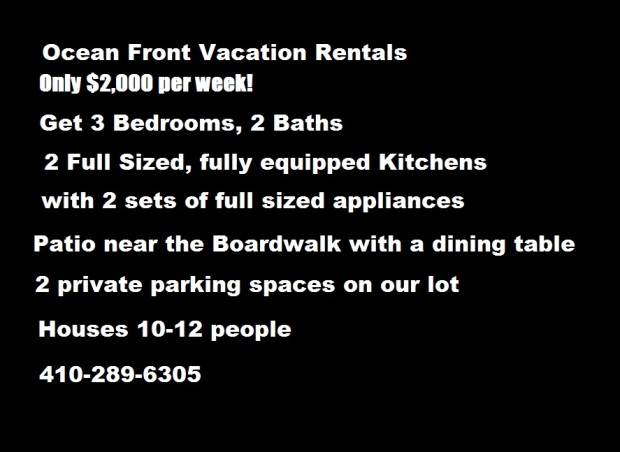 $2,000 per Week – 3 Bedroom Deal – Ocean City Vacation Apartment Rentals