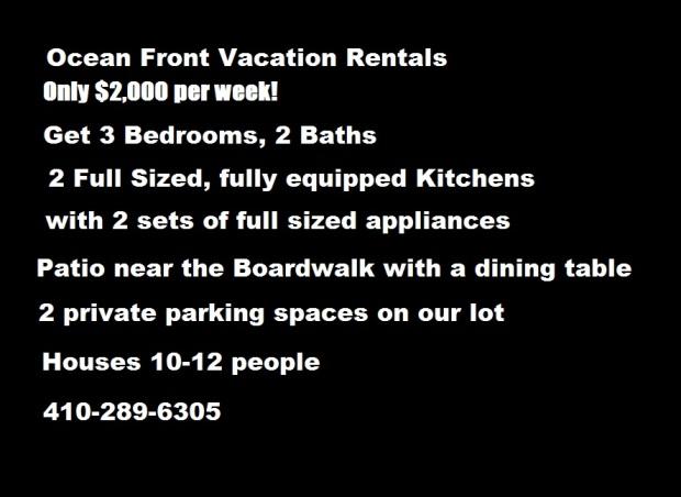 $2,000 per Week – 3 Bedroom Deal – Ocean City Vacation ApartmentRentals
