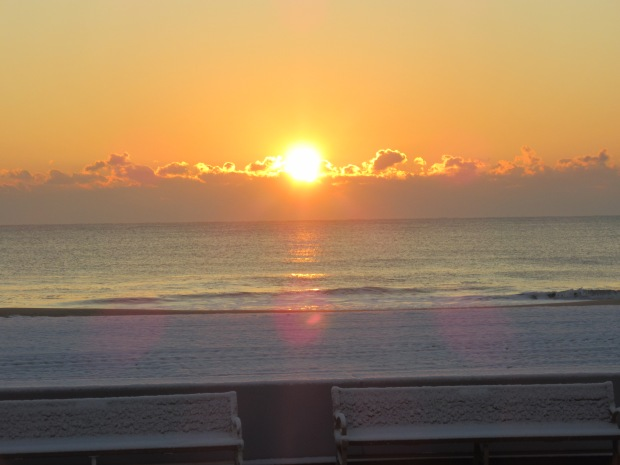 The Sunrise Over A Snowy Beach At The Coronet Apartments – Ocean City