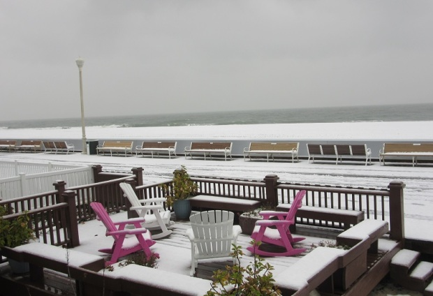 Snow on The Beach & The Boardwalk – Ocean City Maryland – From The Coronet Apartments!